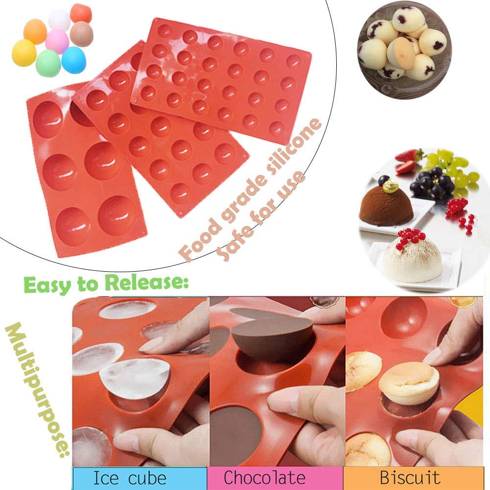 Semicircle Silicone Mold,Shxmlf Half Sphere Chocolate, Candy and Gummy Mold Teacake Bakeware Set for Cake Decoration Mousse Dome Jelly Ice Cream Bombe Cupcake Baking Mold, Assorted Size,Set of 4 by shxmlf (Image #4)