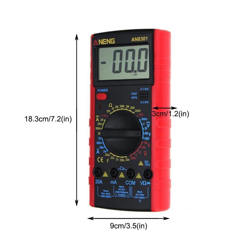 Voltaje AC//DC Mult/ímetro Digital de Mano capacitancia amper/ímetro medidor de Ohmmeter Rango autom/ático Resistencia de Corriente