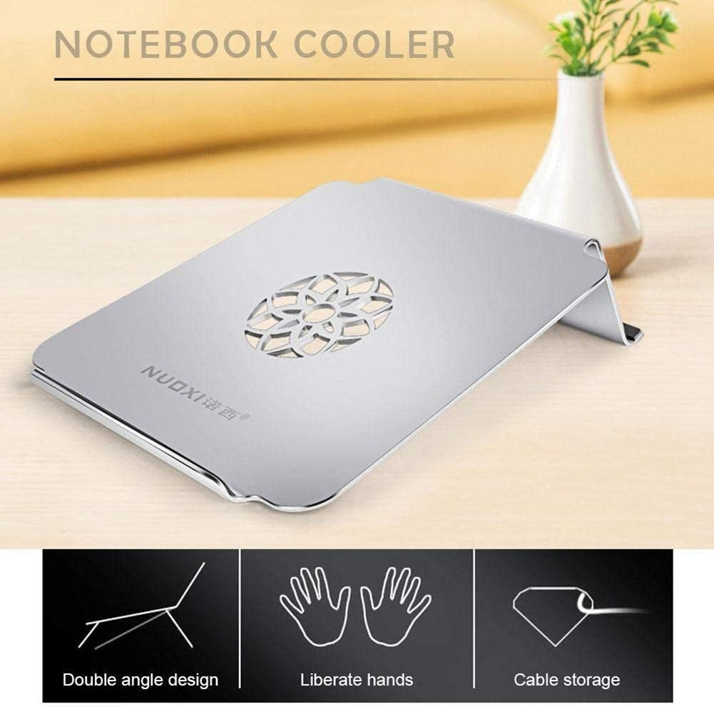 Leoie 17 Inch Gaming Laptop Cooling Pad Slim Dual-Angle Aluminium Alloy Stand Holder for Apple Notebook Tablet Silver with Fan