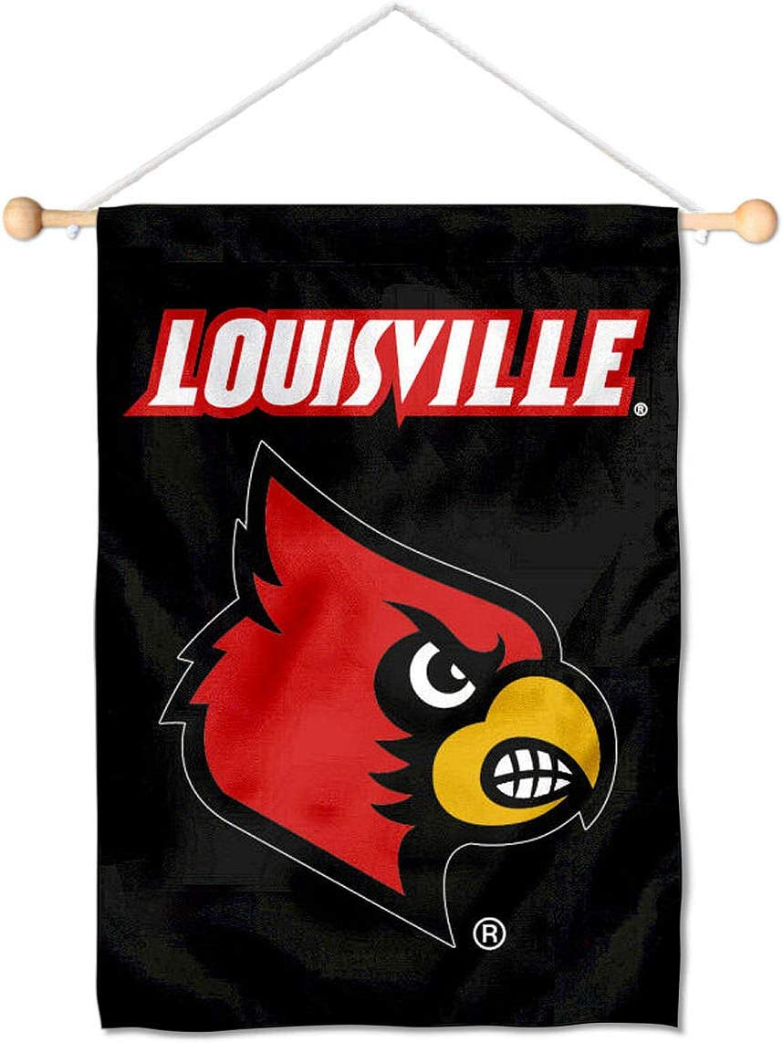 University of Louisville Cardinals Mini Small Banner and Banner Pole Bundle