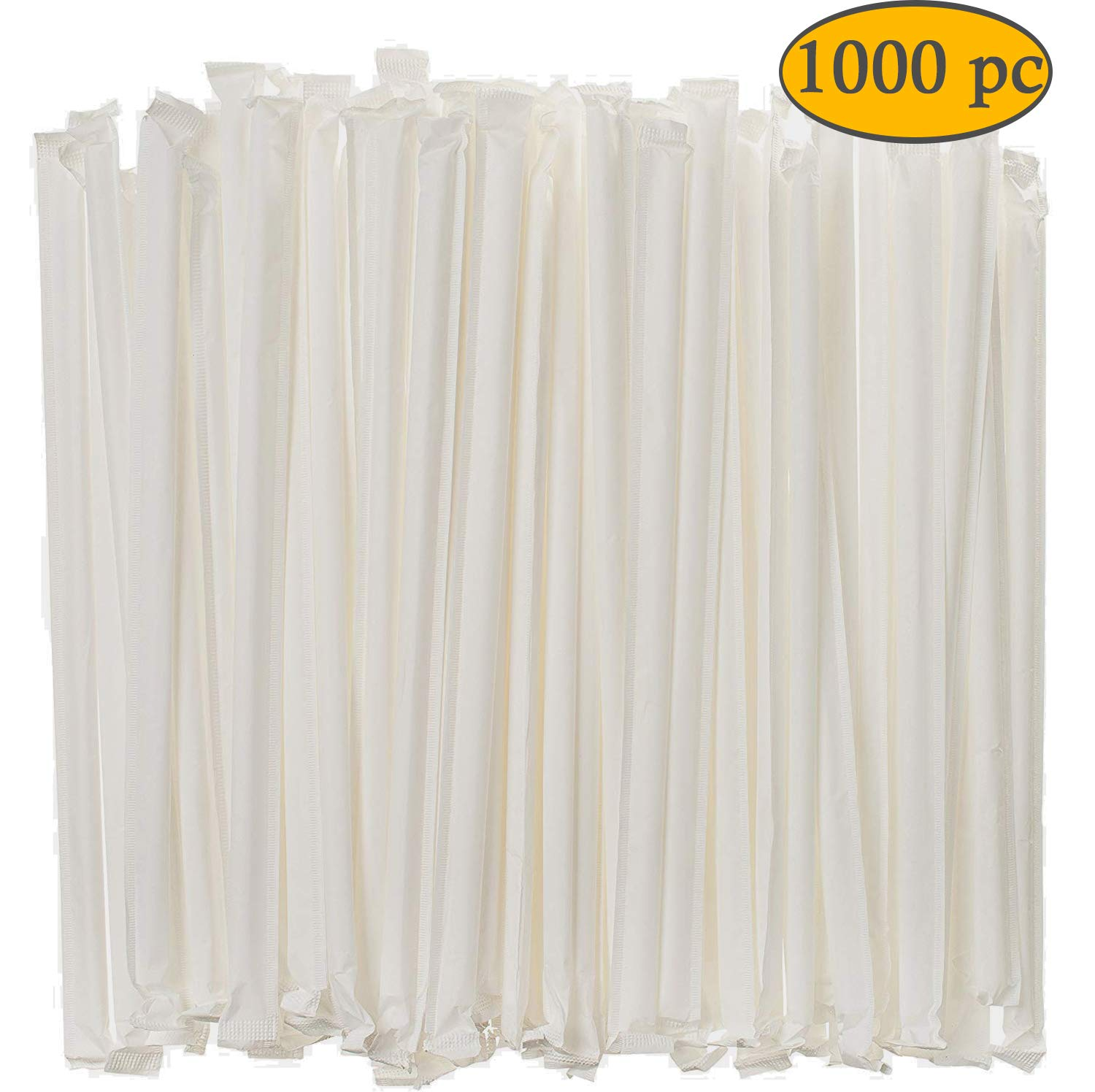 DuraHome Clear Plastic Straws Individually Wrapped 1000 Pack - 8 inch Drinking Straw, BPA Free - Restaurant Style Disposable Straws, Bulk Set by DuraHome