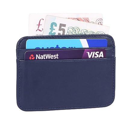 Bojly Titular de la Tarjeta de crédito, Billetera de Tarjeta Ultrafina de Cuero de Oveja, Protector Funda de la Tarjeta de crédito MAX 5 Titular de la ...
