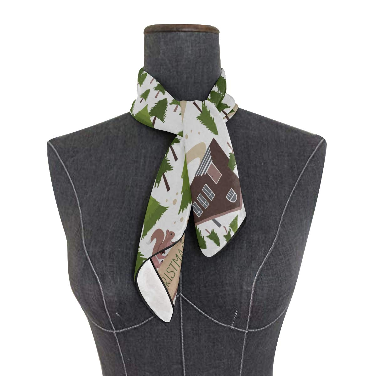 Soft Polyester Silk Lightweight Scarf Fashion Print Beautiful Christmas Tree Farm Scarf Women Mom Scarf Hair Scarves Multiple Ways Of Wearing Daily Decor