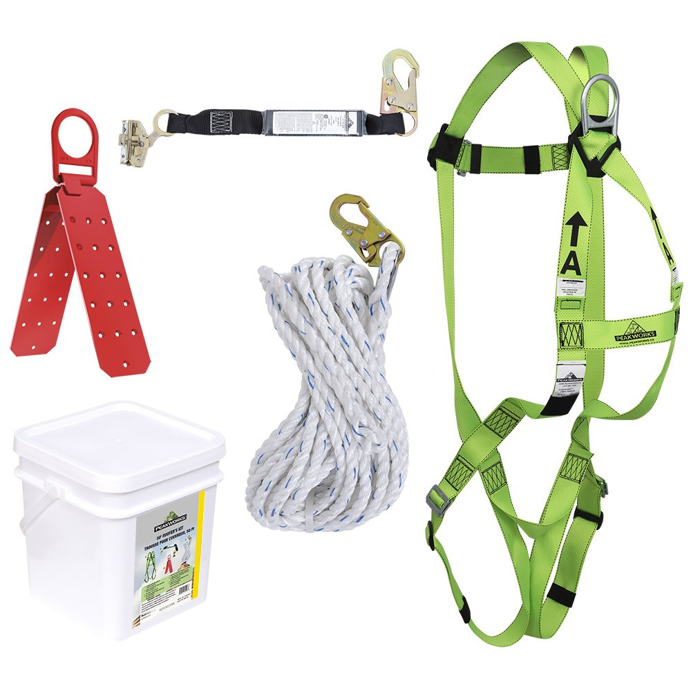 PeakWorks V8257045 - Construction Fall Protection Kit - Reusable Bracket - 2' (0.6 m) SPLanyard - Integral ADP Rope Grab - 50' (15.2 m)