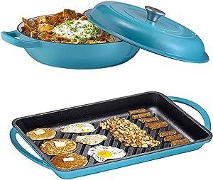 Enameled Cast Iron 2 Piece Gift Set, 3.8 Quart Braiser Pan with Lid, Rectangular Grill Pan Cookware Set, Marine Blue