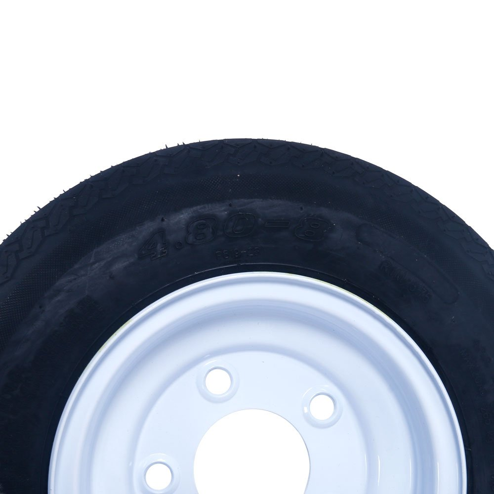 2 Tralier Tires & Rims 4.80-8 480-8 4.80 X 8 8'' B 5 Lug Hole Bolt P819 Wheel White Spoke by MILLION PARTS (Image #6)