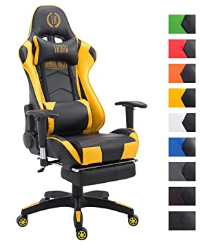 CLP Silla Gaming Turbo en Cuero Sintético I Silla Gamer con Capacidad de Carga 150 kg I Silla Racing Giratoria & Regulable en Altura I Color: ...
