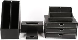 KINGFOM Desk Organizer Set 5PCS Office Supplies Synthetic Leather Files Holder Cabinet Desk Organizer Drawer, Multifunction Organizer Box, Tissue Box Holder and Sticky Notes Dispenser Case (T08-Black)