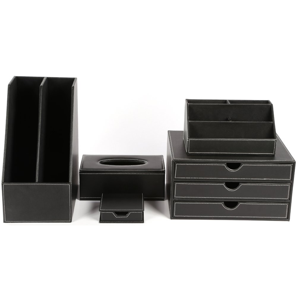 KINGFOM™ Office Desk Organizer Set T08-5PCS/Office Supply Eco-Friendly Synthetic Leather Desk Set Including 5-Compartment Desk Organizer,3-Drawer File Cabinet,2-slot Document Holder, Memo Paper Holder,and Tissue Box Holder (T08-Black)