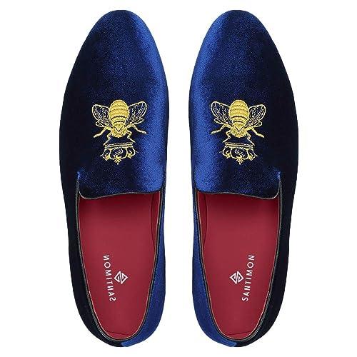 1ba53b221ba Mocasines Hombre Mocasín Zapatos de Vestir Moda Terciopelo Casual Slip-on  Zapatillas para Hombre Bordado Negro Azul Rojo Verde Gris  Amazon.es   Zapatos y ...