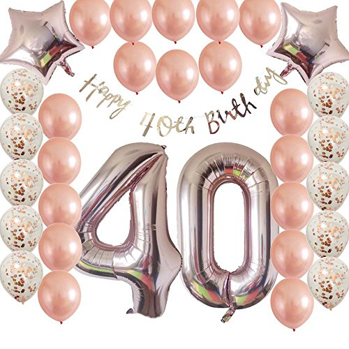 (Cheeringup 40inc 40th Birthday Decorations Party Supplies Set-Rose Gold Confetti Latex Number Balloons-Happy 40th Birthday Banner as Gift for Her Girls,Women,Men Table Decorations Favors,Photo Props)