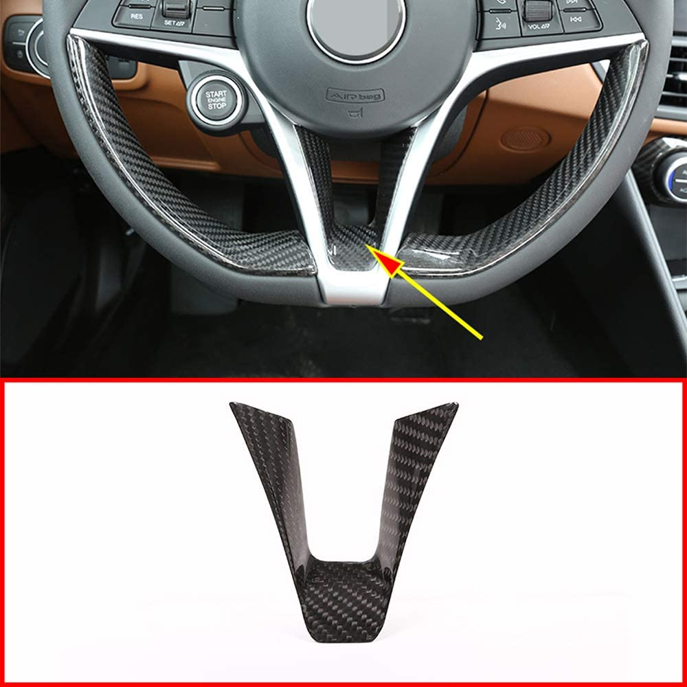 Real Carbon Fiber For Alfa Romeo Giulia Stelvio 2017 2018 2019 Car Steering Wheel Decoration Strip Trim