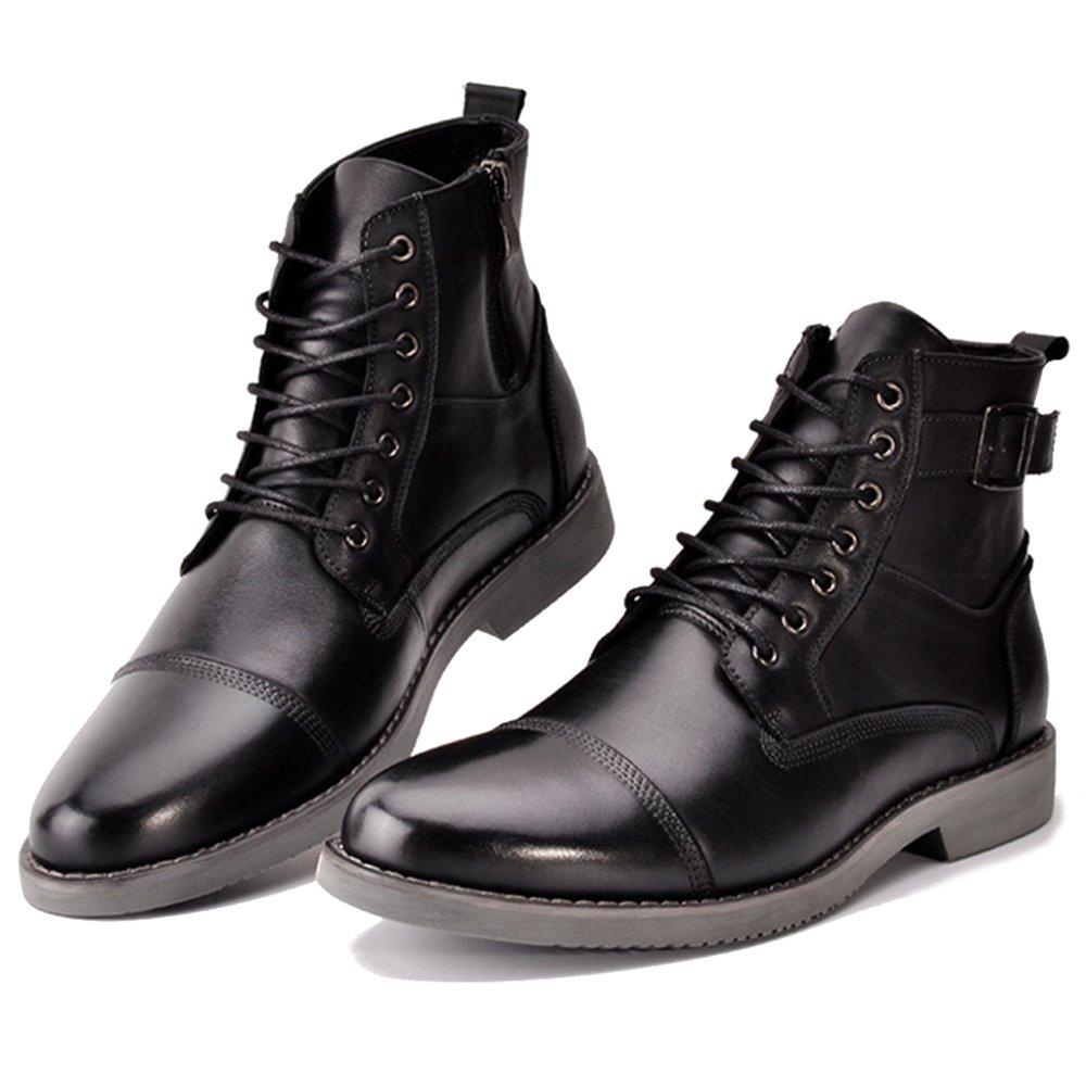 MERRYHE Herren Schnürstiefel aus Echtem Retro Leder Runde Zehe Schuhe Retro Echtem Arbeit Büro Schuh Classic Ankle Boot Chelsea Stiefel schwarz 33af89