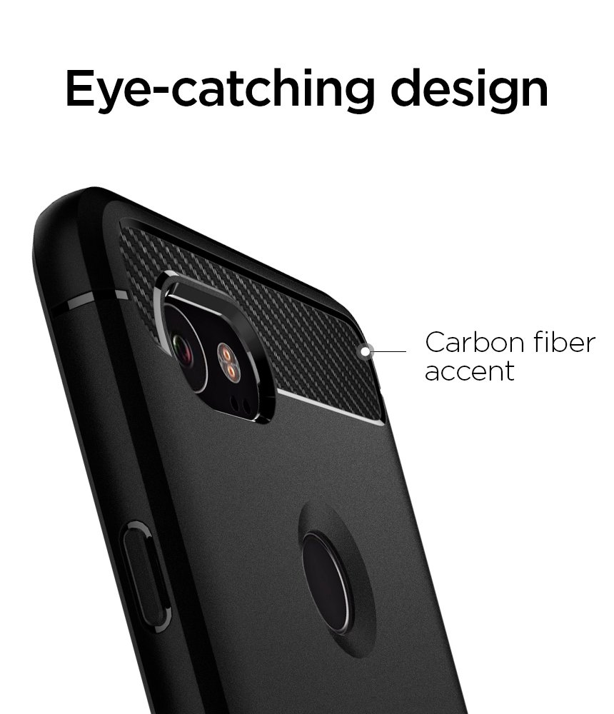 Spigen Rugged Armor Google Pixel 2 XL Case with Resilient Shock Absorption and Carbon Fiber Design for Google Pixel 2 XL (2017) - Black by Spigen (Image #5)