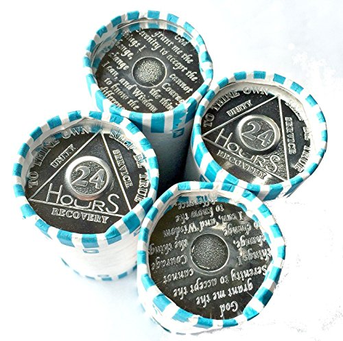 - 100 AA Tokens/Medallions 4 Rolls of the 24 Hour Aluminum Chips/Tokens Commemorative Medallion