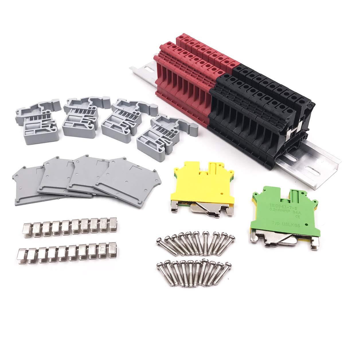 Erayco DIN Rail Terminal Blocks Kit, 20Pcs UK5N 10 AWG Terminal Blocks, 2Pcs Ground Blocks, 2Pcs FBI-10-6 Terminal Fixed Bridge, 4Pcs E/UK End Brackets, 2Pcs D-UK3/10 End Covers, 1Pcs 8'' aluminum RoHS