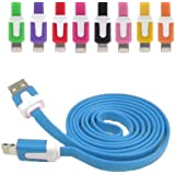 REALMAX® 1 Meter Flat USB Data Charge Charger Cable Lead For iPhone 5/5S/5C/6 6 plus iPad Air Mini (Blue)