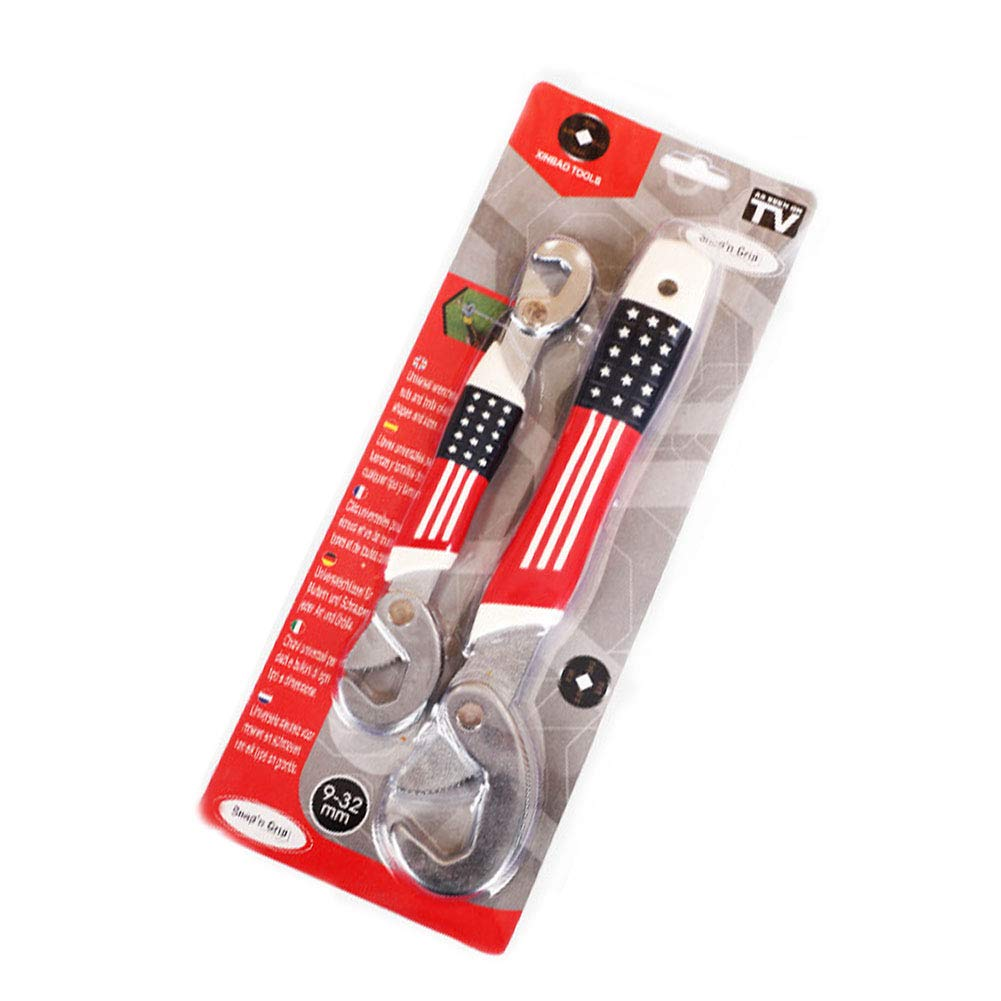 Adjustable Wrench Universal Wrench Quick Multifunctional snap'N Grip 9-32 mm 2 Pieces NaiCasy