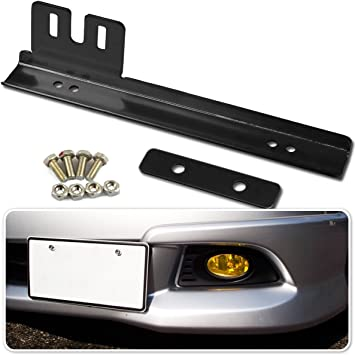 JDM Black Universal Front Bumper License Plate Relocator Bracket Holder Bar Kit