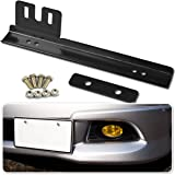 Zone Tech Bumper License Plate Relocator - Premium Quality Classic Black Universal Fit Front Bumper License Plate Relocator Bracket Holder Bar