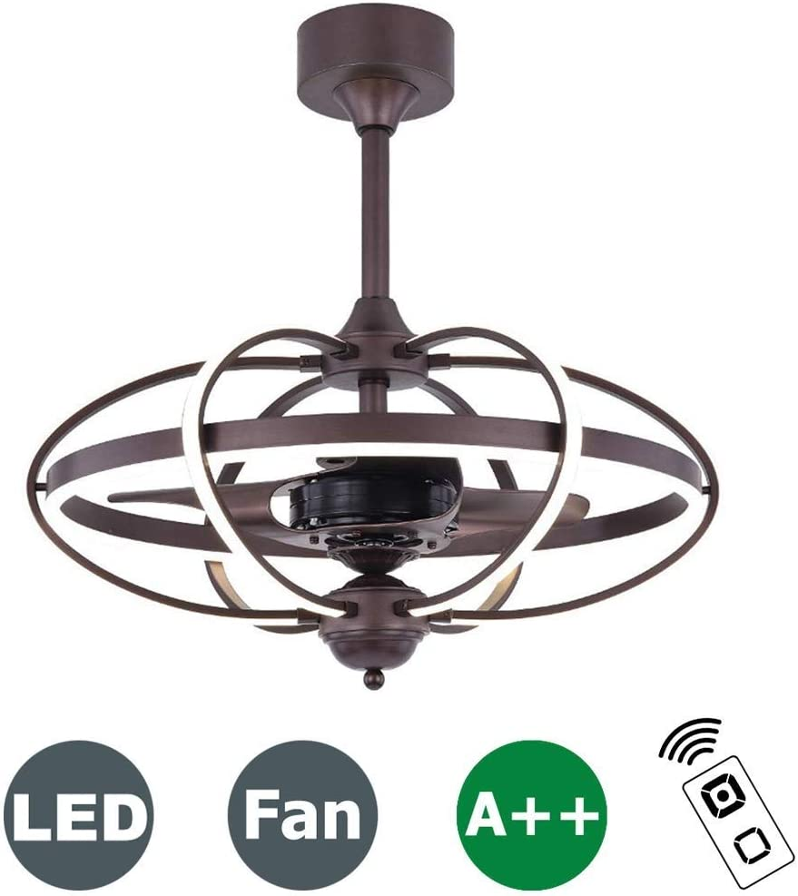 LAZ Ventilador de Techo Vintage con luz LED y Control Remoto Ventilador silencioso Reversible Sala de Estar Habitación for niños Dormitorio Lámpara de Techo Lámpara Luz de Ventilador