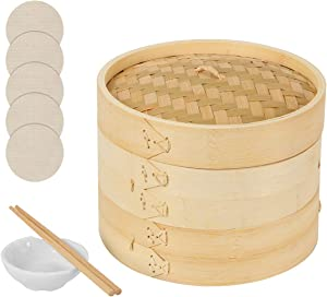 JINGYAT 10 Inch Bamboo Steamer - Two Tier Classic Traditional Basket Design - Healthy Food Cooking - Great for Dumplings, Vegetables, Chicken, Fish,Steam Rice