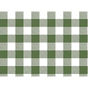 Qute Home 55 x 95-inch Rectangle Tablecloth | Checkered Green Vinyl Dining Table Cover (Seats 6-8 People)