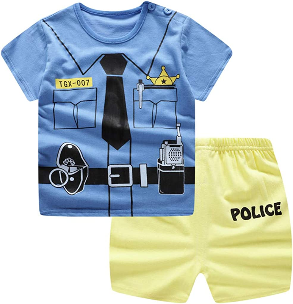 Kids Boys 2Pc Outfits Sets 12-18 Months, Black Toddler Baby Short Sleeve Letter Print T Shirt Tops Jeans Shorts Suit for 0-3 Years