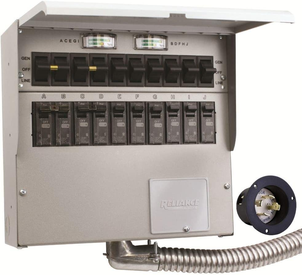 310A Pro/Tran2 30-Amp 10-Circuit 2 Manual Transfer Switch with ...
