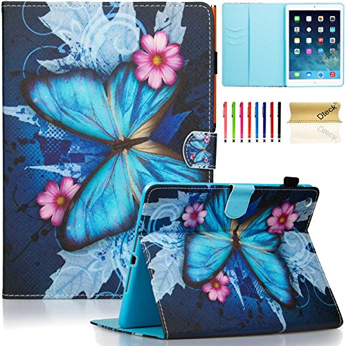 iPad Air Case, Dteck(TM) Fashion Art Prints Leather Flip Stand Smart Cover with Auto Wake/Sleep Feature Magnetic Snap  for iPad Air/5th 9.7 inch 2013 Model, Blue Butterfly & Pink Flower