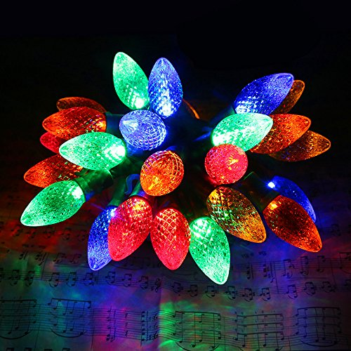 [Commercial Grade]Outdoor Led Decorative String Lights,13 Ft 25 C7  Bulb,Colored Led Christmas Lights,Wedding Party Garden Festive Mood Lighting  To Bright ...