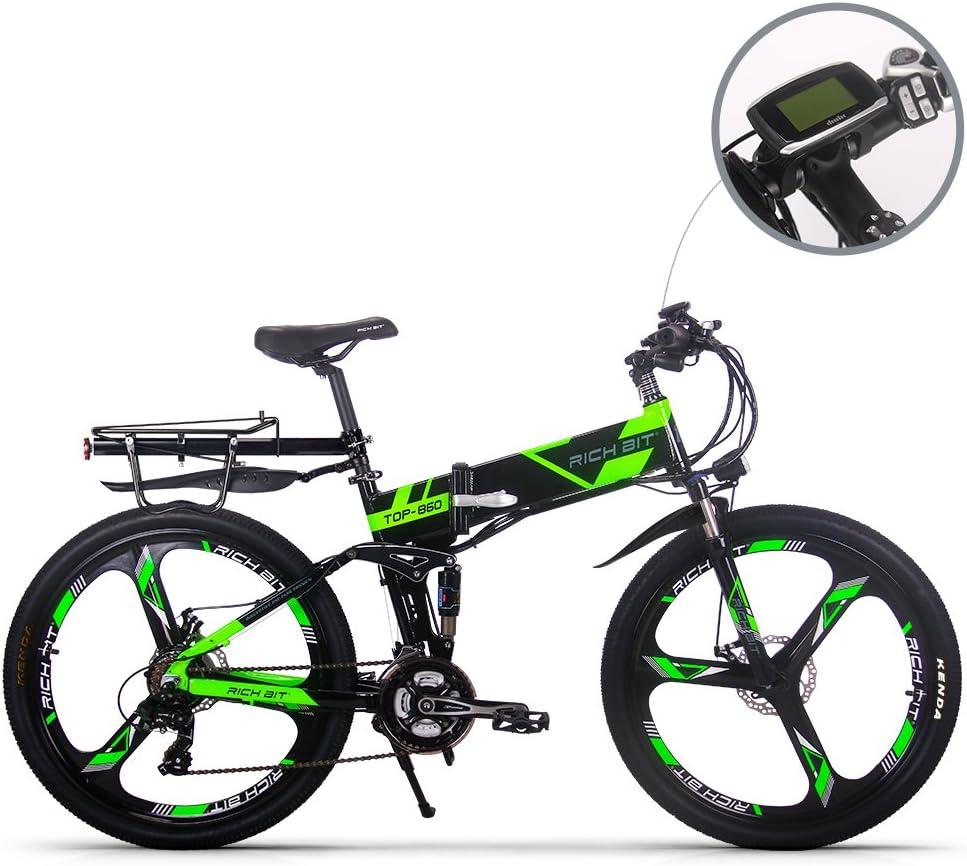 RICH BIT Eléctrico Bicicleta Actualizado RT860 36V 12.8Ah Batería de Litio plegable bicicleta MTB montaña bike 17 * 26 Shimano 21 velocidades inteligente e bike verde