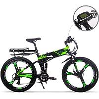 RICH BIT Eléctricas RT860 E-Bike 12.8Ah Batería de Litio 36V * 250W Motor Shimano 21-Velocidad Plegable Bicicleta de montaña 26 Pulgadas Freno de Disco Inteligente Bicicleta eléctrica Verde