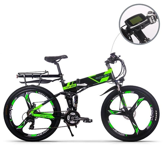 RICH BIT bicicleta de montaña eléctrica RT860 12.8Ah batería LG 7 velocidades Pedelec pantalla LCD Raqueta trasera Bolsa de bicicleta EBike completa verde: ...