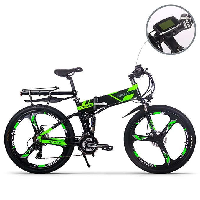 RICH BIT® Eléctricas RT860 E-Bike 12.8Ah Batería de litio 36V * 250W Motor sin escobillas Shimano 21-velocidad plegable bicicleta de montaña 26 pulgadas ...