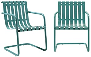 Crosley Furniture Gracie Retro Metal Outdoor Spring Chair - Caribbean Blue (Set of 2)
