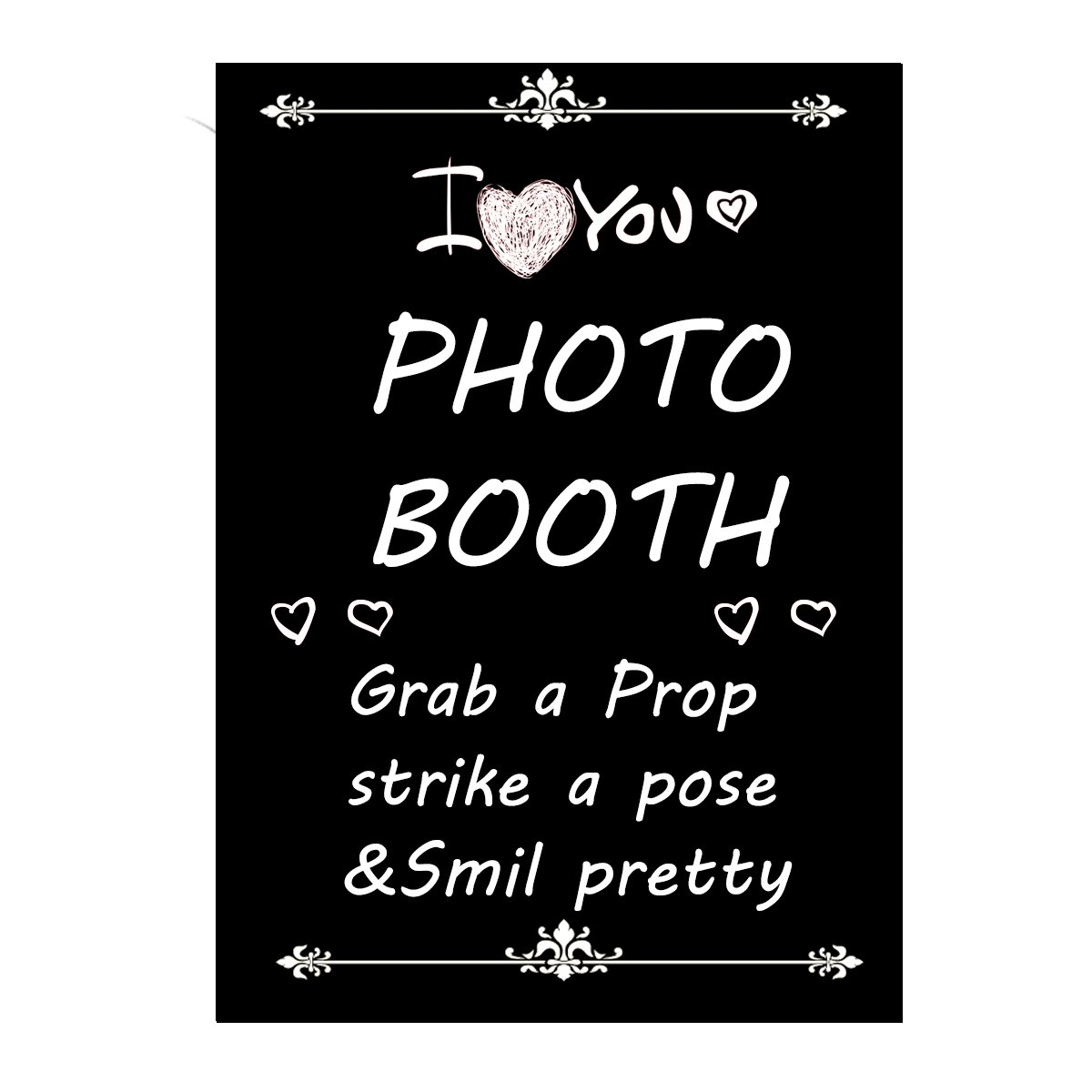 Photo Booth señal instrucciones amor cartel negro: Amazon.es ...