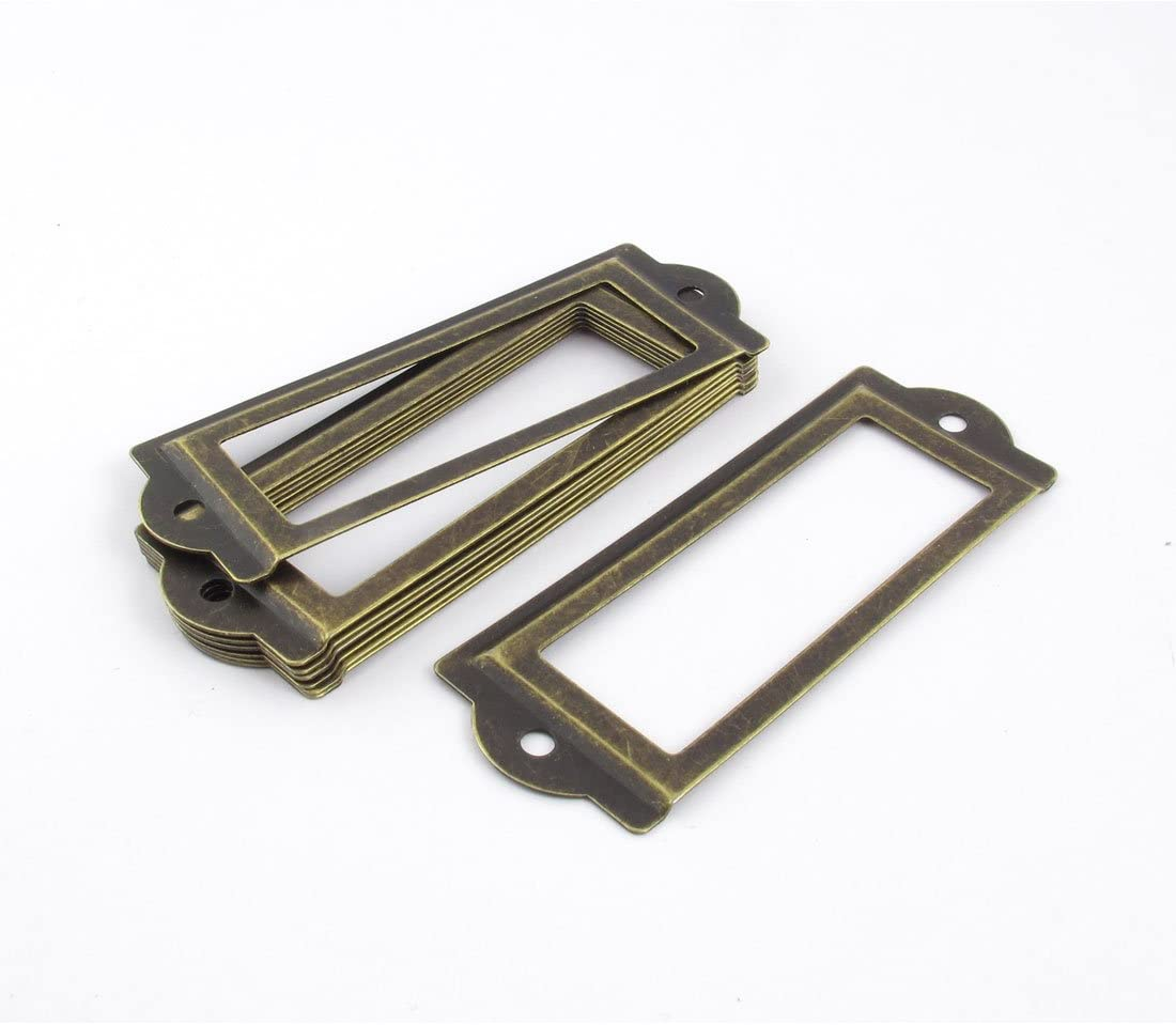 Office Library File Drawer Door Tag Label Holder Bronze Tone 10 Pcs