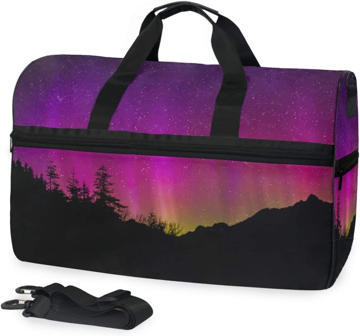 MUOOUM Fantastic Purple Aurora Large Duffle Bags Sports Gym Bag with Shoes Compartment for Men and Women