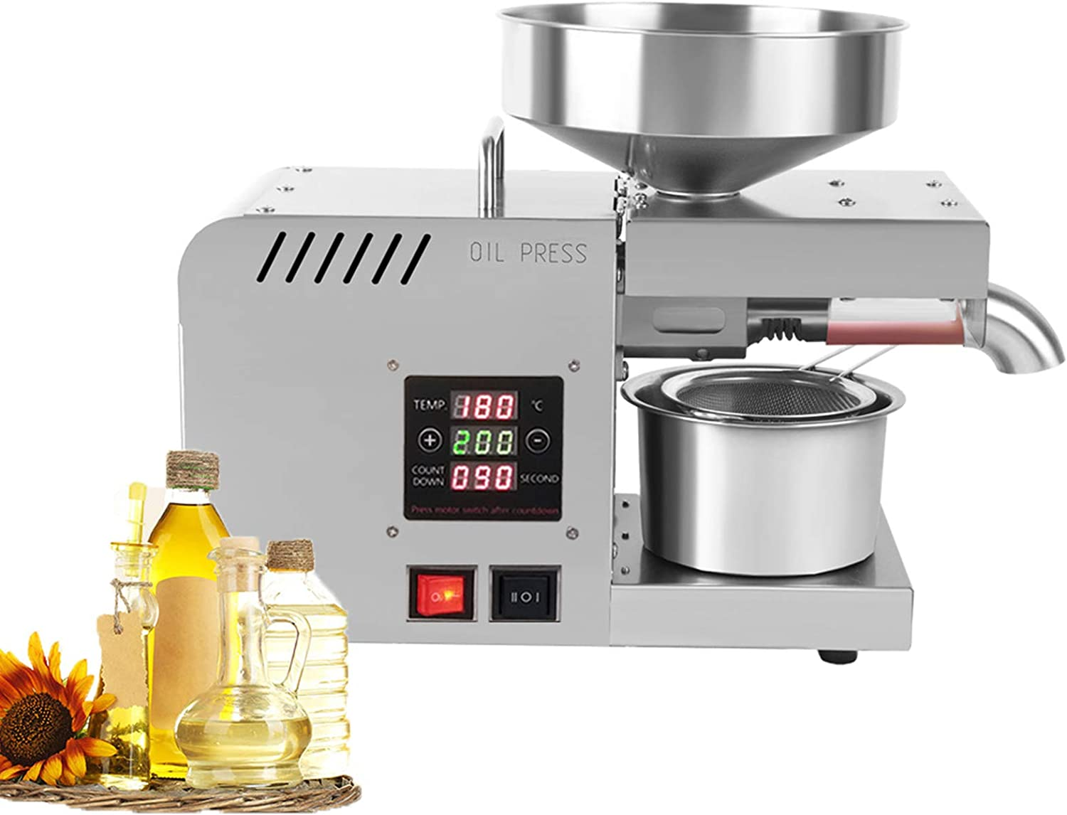 FREEDOH Oil Press Machine Multifunctional Temperature Control System Food Grade Stainless Steel Oil Presser for Peanut Pecans Flax Seeds Almonds Canola