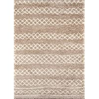Momeni Rugs MAYA0MAY-3BGE7A9A Maya Collection Ultra Thick Pile Shag Area Rug, 710 x 910, Beige