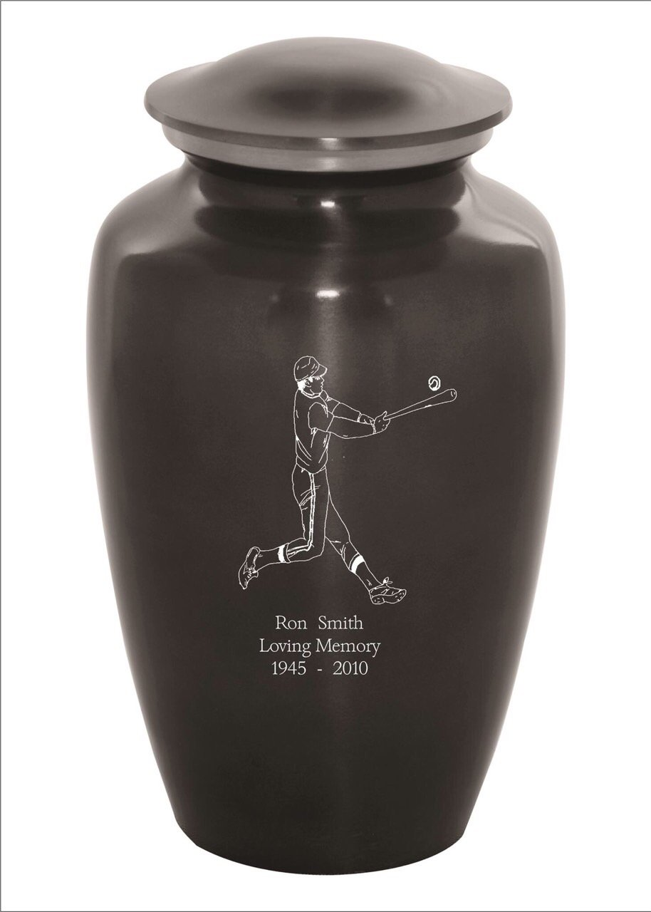 Memorials4u Custom Engraved Cremation Urns for Human Ashes - Adult Funeral Urn Handcrafted - Custom Engraved - Affordable Urn for Ashes - Large Urn Deal (Baseball) by Memorials4u (Image #1)