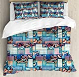 Patchwork Duvet Cover Set Queen Size by Lunarable, Abstract Pattern with Polka Dots Differently Sized Rectangles and Bulls Eye Motif, Decorative 3 Piece Bedding Set with 2 Pillow Shams, Multicolor