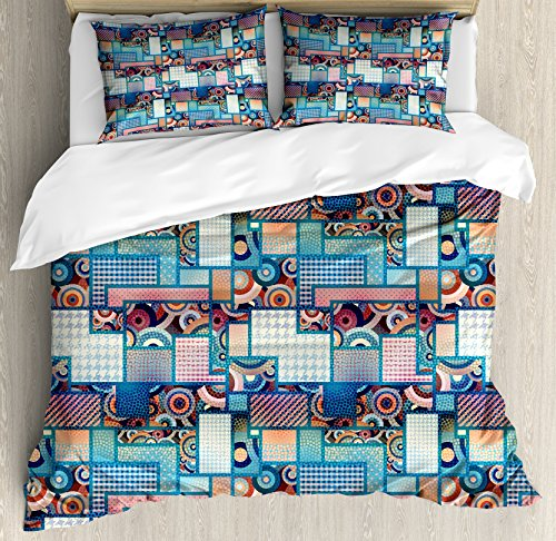 Bullseye Dots - Lunarable Patchwork Duvet Cover Set Queen Size, Abstract Pattern with Polka Dots Differently Sized Rectangles and Bulls Eye Motif, Decorative 3 Piece Bedding Set with 2 Pillow Shams, Multicolor