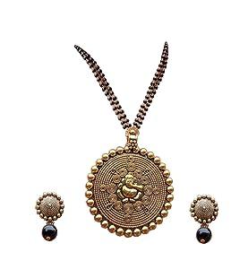 Bhagya Lakshmi Gold Alloy Pride Traditional Ganesh Ji Mangalsutra with Earrings for Women
