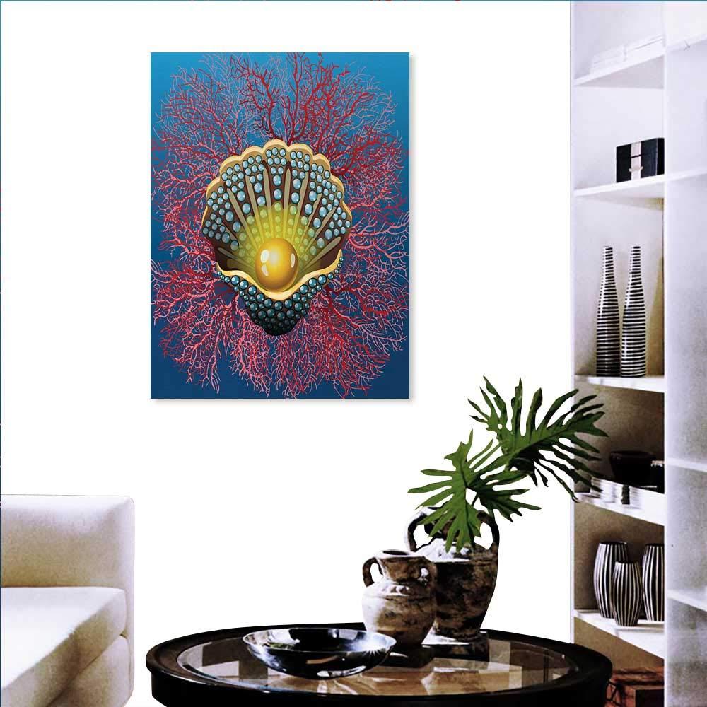暖かいファミリーパール 壁用ステッカー カラフルな水中アニマル 漫画スタイル トロピカル貝殻 サンゴの葉 ホームデコレーション ブルーピンクタン 20
