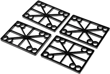 4 Pieces//Pack 6mm Skateboard Longboard Shock Pads Risers Black
