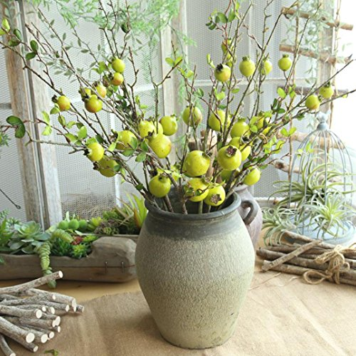 YLCOYO Flowers, Fake Artificial Rose Fruit Pomegranate Berries Bouquet Floral Garden Home Decor (Green) ()