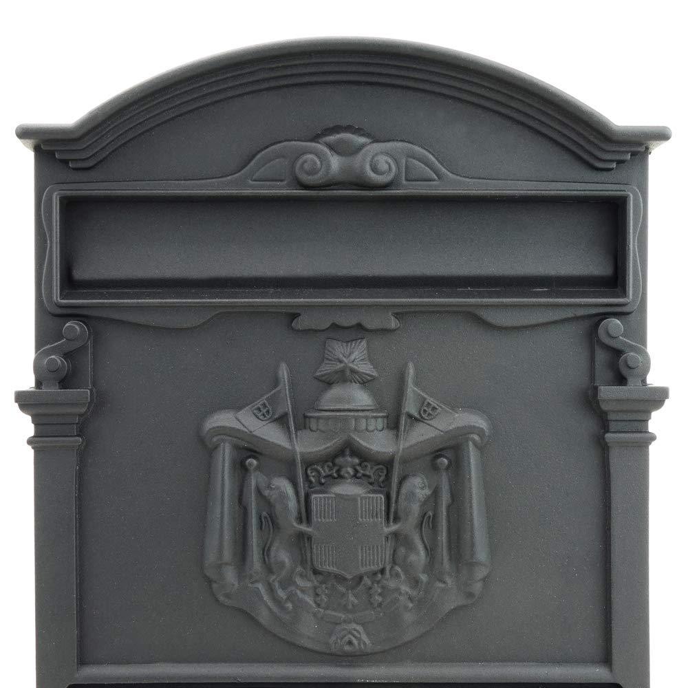 Bo/îte aux Lettres r/étro Antique Vintage m/étallique color/é Noir pour Mur PrimeMatik