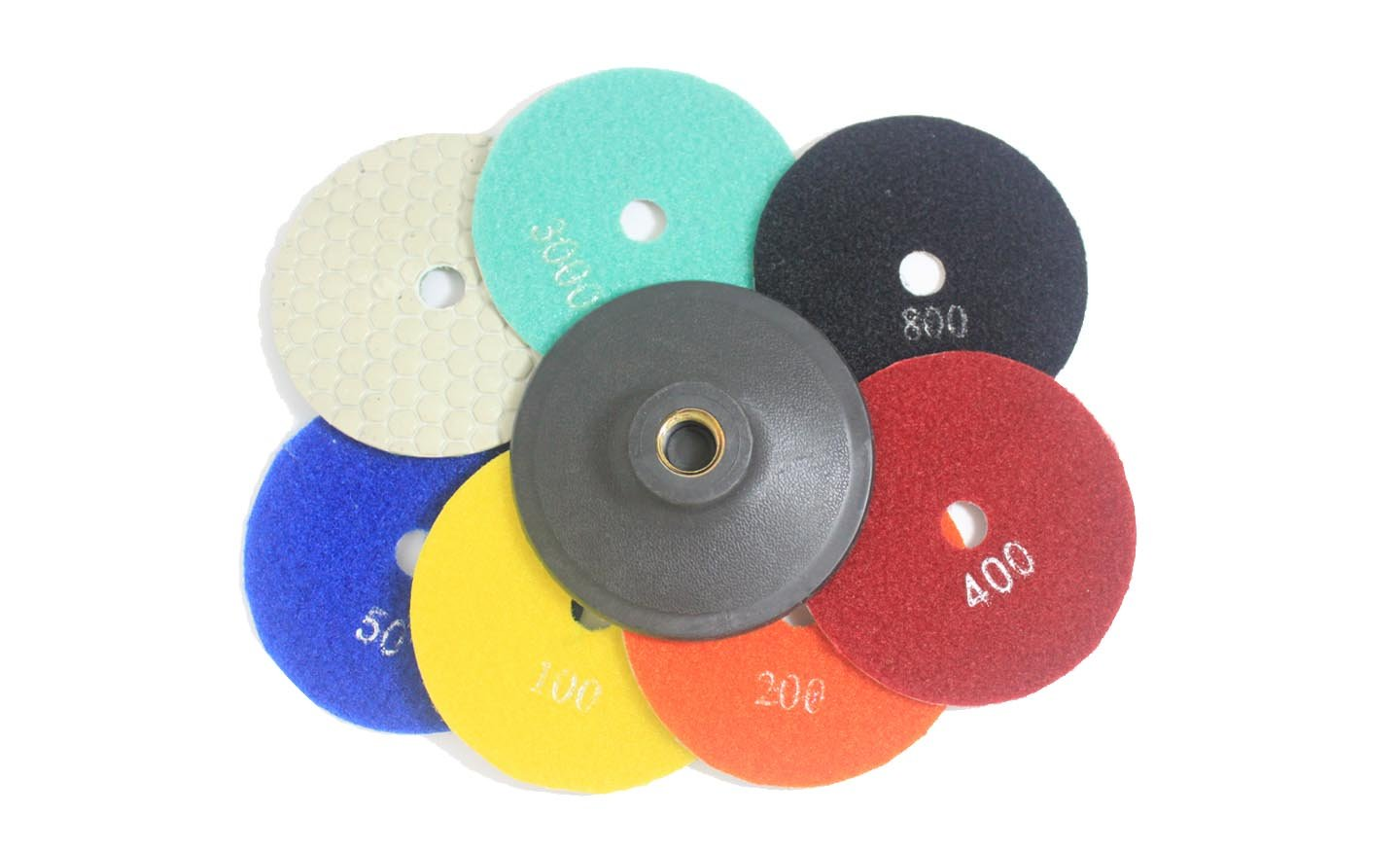 Shine Peak Diamond Polishing Pads 4 Inch Wet/Dry 7 Piece Set & Backer Pad Granite Concrete (Dry Use) shine peak group limited